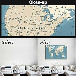 XLarge Blue Vintage World Map Canvas Prints Atlas Framed and Stretched Map Wall