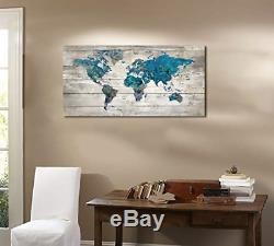 Yiijeah Abstract Watercolor Blue World Map Canvas Wall Art Prints for Living Map